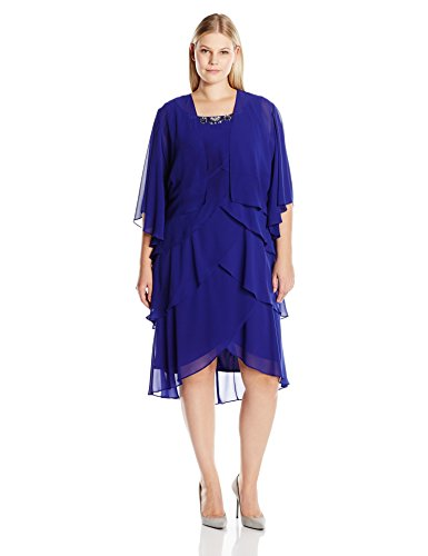 S.L. Fashions Women's Plus Size Jacket Rhinestone Trimmed Multi Tiered Dress, Iris, 14W (Trimmed Dress Jacket)