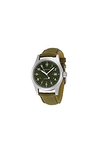 Hamilton Men's HML-H69419363 Analog Hand wind Stainless Steel Khaki Field Green Strap Watch