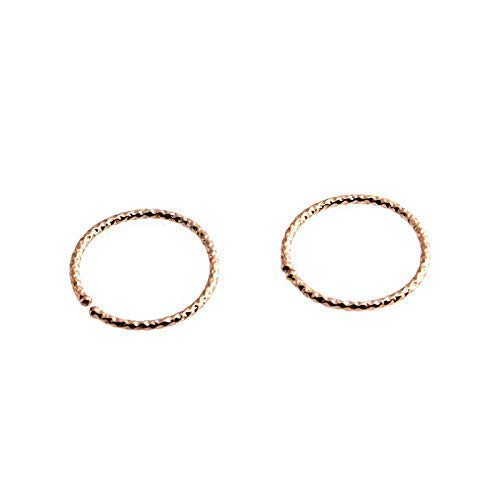 Small 14K Rose Gold Filled Hoop Earrings 10mm- Outside Inside RGF-DC-20GA-D10M-Open Hoops 9mm