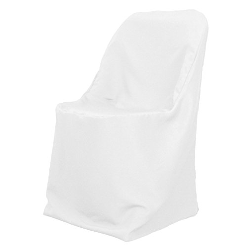 LinenTablecloth Polyester Folding Chair Cover White