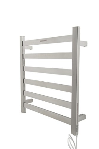 ANZZI Note 23.62 in x 25.2 in Modern 6-Bar Wall Mounted Electric Towel Warmer in Brushed Nickel | Stainless Steel 93W Heater Tower Drying Rack for Bathrooms and Spa | TW-AZ023BN