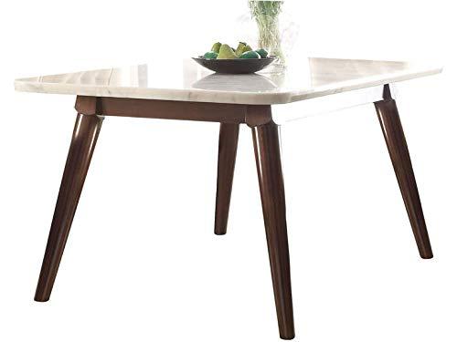 Acme Furniture Gasha Dining Table, White Marble/Walnut