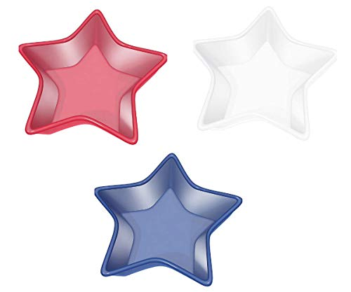 Red, White and Blue Star Shaped Serving Bowl: Set of 3 Patriotic 4th of July Party Serve Ware, Plastic