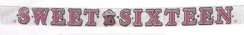 Amscan International Sweet 16 Glitter Fringe Banner