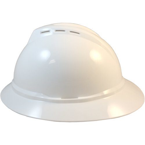 MSA 500 Series Full Brim Vented Hard Hats with 6 Point Ratchet Suspensions White by MSA (Image #4)