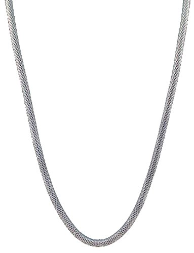 18' Titanium Necklace (316L Stainless Steel Round Net Cylindrical 3.2mm Wide Chain Necklace (Include Clasp),18'' (Silver))