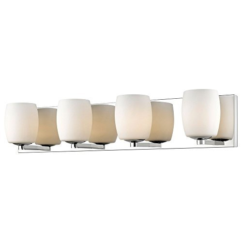Access Lighting Serenity 4-Light Vanity - Mirrored Stainless Steel Finish with Opal Glass Shade