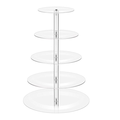 Pastry Dessert Cupcake Stand, Clear Round Acrylic Tiered Wedding Cakes Holder, Cupcakes Displays Tower for Kids Baby Shower Birthday