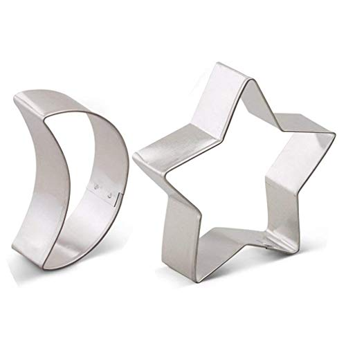 2 Pieces Moon and Star Cookie Cutter Set - Food Grade Stainless Steel (Moon Star Sun Cutter Cookie)