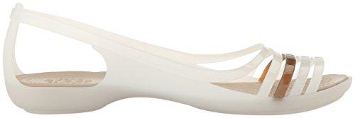 Crocs Isabella Huarache Flat W Oys/Wal, Bailarinas para Mujer Bianco (Oyster/Walnut)