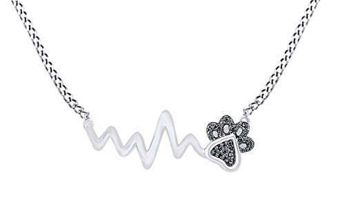 AFFY Black Natural Diamond Paw Print Heartbeat Pendant Necklace In 14k White Gold Over Sterling Silver (0.05 (Black & White Diamond Pendant)