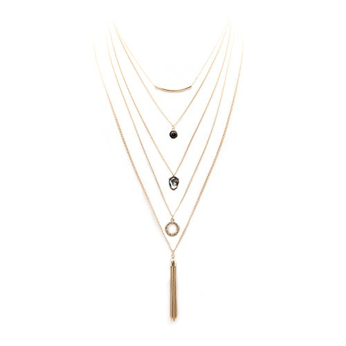 Multilayer Dainty Tribal Long Layered Thin Chain Tassel Circle Teardrop Stone Bar Pendant Necklace Set Gold Plated for Women