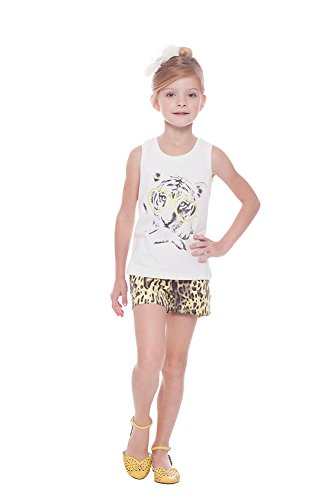 Girl Outfit Graphic Tank Top and Cheetah Print Shorts Set 4-6 Years - Yellow (Cheetah Tank)
