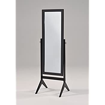 Black finish wooden cheval bedroom free for Free standing bedroom mirrors