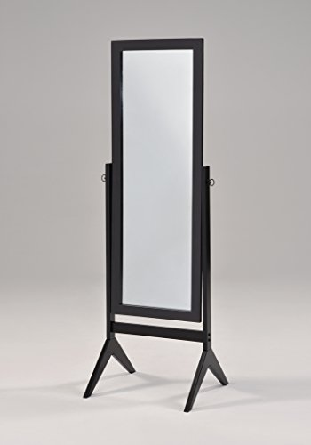 Black Finish Wooden Cheval Bedroom Free Standing Floor Mirror ()