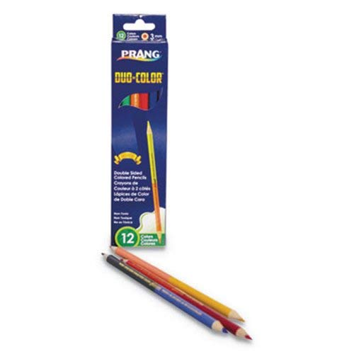 Prang Duo-Color Colored Pencil Sets, 3 mm, 12 Assorted Lead, 6/Pack (80 Pack)