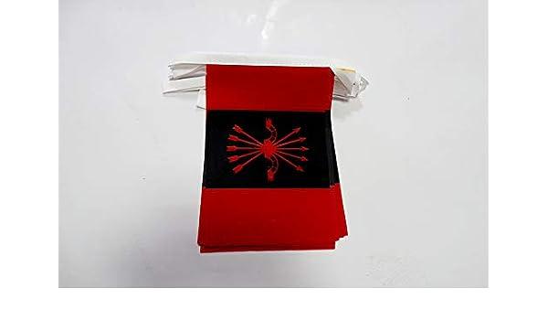 AZ FLAG Guirnalda 6 Metros 20 Banderas de la FALANGE ESPAÑOLA DE Las JONS 21x15cm - Bandera del FALANGISMO 15 x 21 cm - BANDERINES: Amazon.es: Jardín