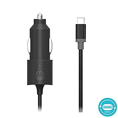 Motorola TurboPower 15 USB-C (Type C) Car Charger for Moto Z Play/Droid/Force, Z2 Play/Force, Z3 Play, Z4, X4, G7, G7 Play, G7 Plus, G7 Power, G6,G6 Plus [Not for G6 Play] USB C devices - (Retail Box)