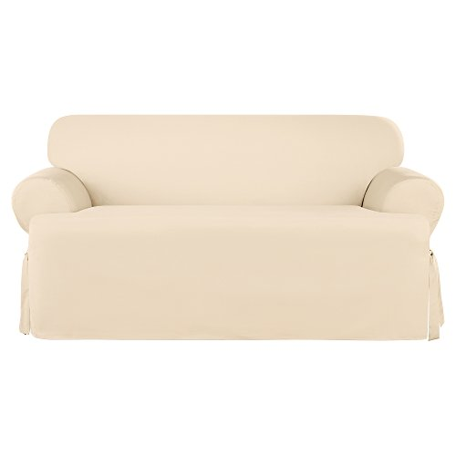 Sure Fit Heavyweight Cotton Duck One Piece Slipcover (Natural, T-Cushion Loveseat)