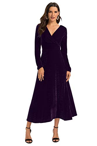 Escalier Women's Long Sleeve V-Neck Faux Wrap Velvet Maxi Dress Purple S