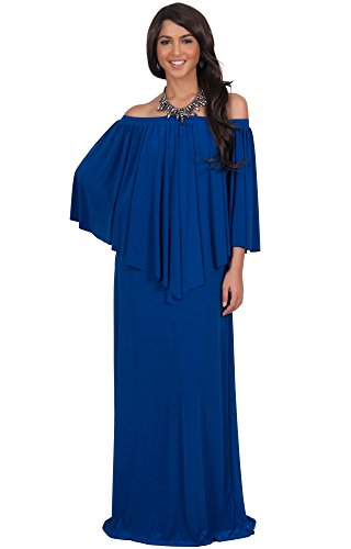 KOH KOH Plus Size Womens Long Strapless Shoulderless Flattering Cocktail Evening Off the Shoulder Sexy Evening Flowy Formal Gown Gowns Maxi Dress Dresses for Women, Cobalt / Royal Blue 2X 18-20 (2)