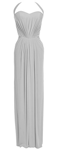MACloth Women Halter Jersey Long Formal Evening Prom Dress Wedding Party Gown Plateado