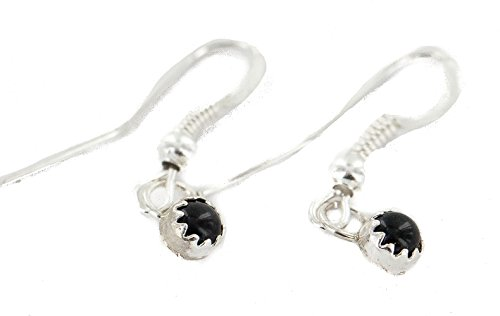 Certified Authentic Navajo .925 Sterling Silver Natural Black Onyx Native American Dangle Earrings