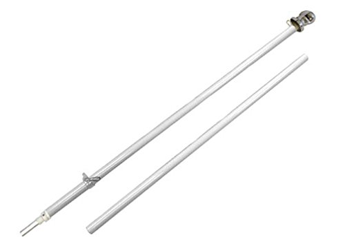 Outdoor Wall Hanging Spinning Flag Pole - Black Label Edition - 6ft White Pole w/Silver Ball Topper by Founding Fathers Flags