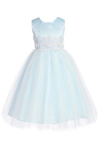 KID Collection Big Girls' Cinderella Tulle Dress 8 Blue (Kid 1098) -