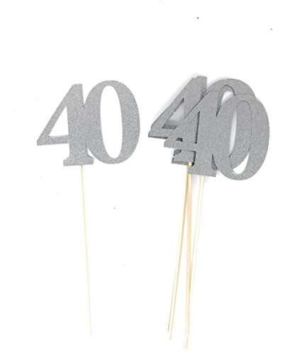 Set of 8 Number 40 Centerpiece Sticks for Fortieth Anniversary Reunion 40th Birthday (Silver)