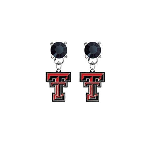 (Texas Tech Red Raiders Black Crystal Stud Post Dangle Earrings)