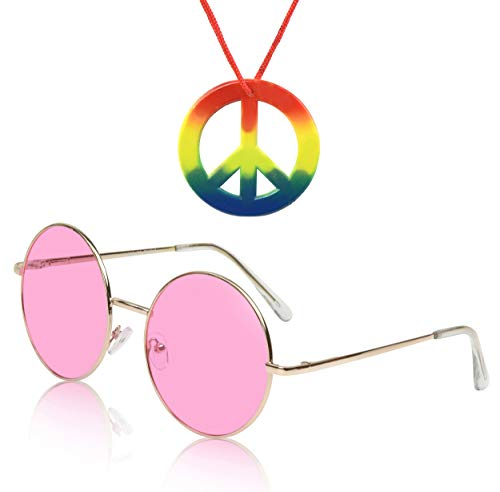 Sunny Pro Round Sunglasses Retro Circle Tinted Lens Glasses UV400 Protection (Pink Sunglasses + Hippie paece sign necklace)]()