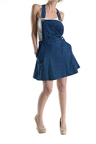 Fit And Flare Denim Skirt (Secret Blue Denim Overall Romper Skater Skirt with Front Pocket and Adjustable Strap (Medium))