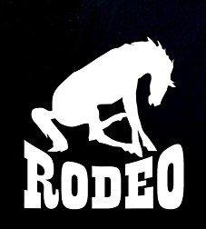 Rodeo Horse Bronco Decal Vinyl Sticker|Cars Trucks Vans Walls Laptop| WHITE |5.5 x 5.25 - Carousel Katy Perry