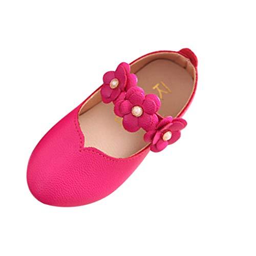 Axinke Little Girls Beaded Flowers Decor Mary Jane Casual Slip On Ballerina Flats Princess Shoes (Hot pink, US:12)