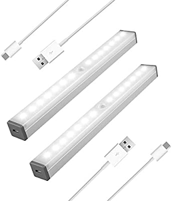 Closet Light Rechargeable Motion Sensor Light For Bathroom Corridor Stairs 14 Led Bulbs Usb Charging Sos Mode And Stepless Dimming 2pcs White Light Buy Online At Best Price In Uae Amazon Ae