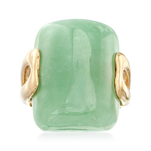 (Ross-Simons Rectangular Green Jade Ring in 14kt Yellow Gold)