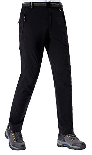 DAFENGEA Men Outdoor Waterproof Quick Dry Lightweight Hiking Mountain Pants (B Black, Medium)