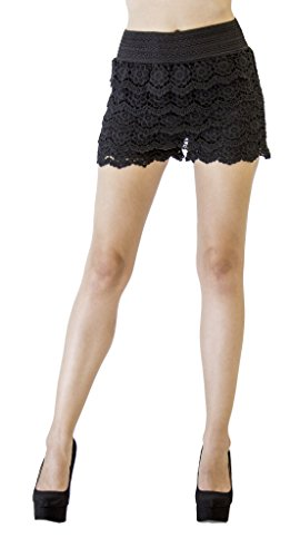 D&K Monarchy Lace Crochet Layered Shorts (Floral) Black (Floral Nylon Shorts)