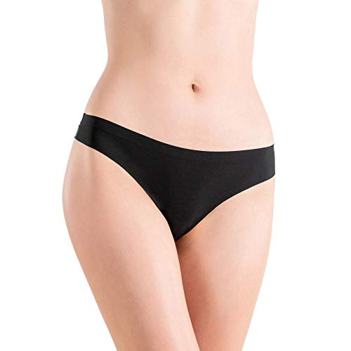 Alyce Intimates Women's Laser Cut Thong, All Black Pack of 12 (Laser Black Cut)