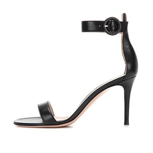 Soireelady Womens High Heel Ankle Strap Sandals Open Toe Summer Dress Shoes Black ksg69En