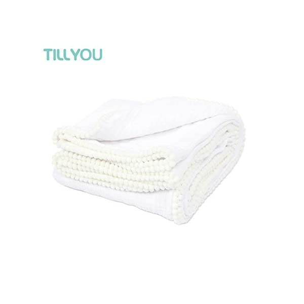TILLYOU 2-Layer Muslin Swaddle Blanket with Pom Pom Trim, 100% Breathable Gauze Cotton Baby Receiving Blanket, Lightweight & Super Soft Burp Wash Cloth/Nursing Cover/Stroller Blankets, 44×44, White