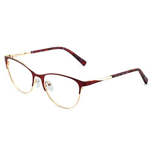 fd848a5577e70 OCCI CHIARI Fashion Vintage Oval Non-Prescription Eyewear Frame Designer  For Women(Red Gold)