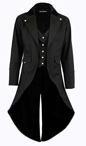 Darkrock Men's Black Cotton Twill Steampunk Tailcoat Jacket Goth Victorian Coat/Trench (Small, ()