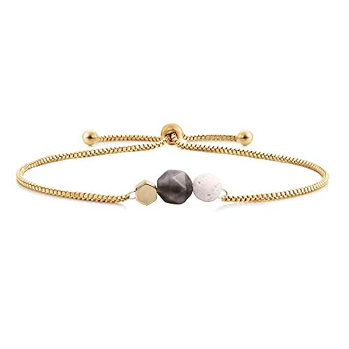 Jardme Essential Oil Diffuser Bracelet, Lava and Rose Quartz Essential Oil Bracelet, Rose Quartz Gemstone Bracelet, Adjustable Gold Bracelet (Gray)