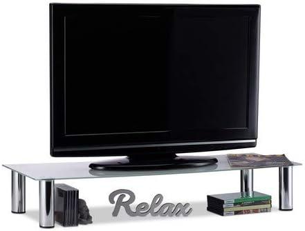 Relaxdays Mueble TV de Cristal, Mesa Televisión, Vidrio y Metal ...