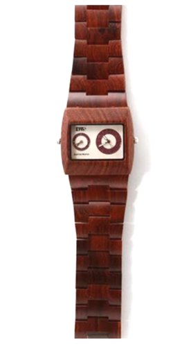 Men's Wood Watch Dual Time Zones Rosa Volta Due Rosewood by Earths - Zona Rosa Shops