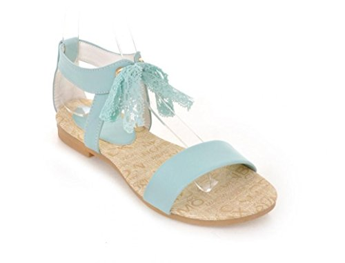 SHFANG Sandalias de mujer Verano Fondo plano Estudiantes de fondo suave Little Fresh Summer Ribbon Shopping Ocio Confort 34-39 Blue