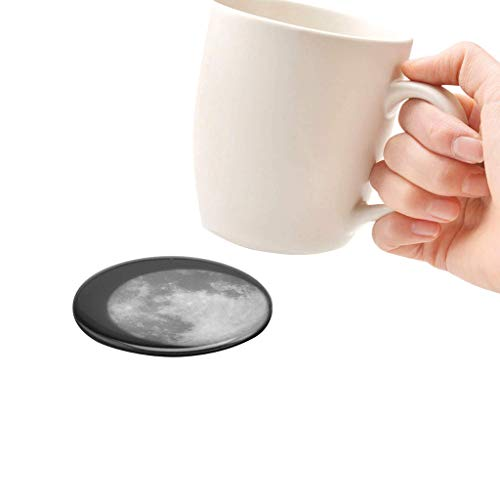 Cup Pad The Moon Coaster 4Pcs Temperature Sensing Pad Surface Transforms Table Coffee Non Slip Round Black (9 * 9 * 2, black) (Fragrance Moon Magic)