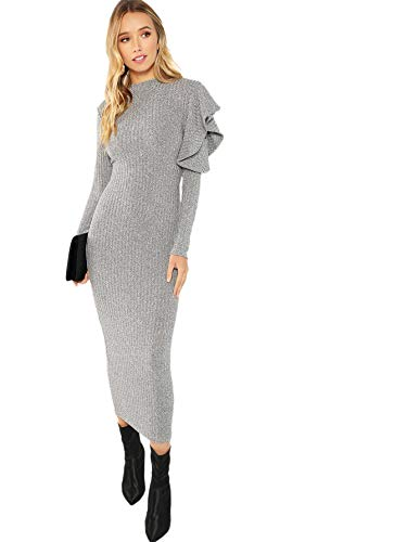 Dress Knit Ruffle (Floerns Women's Ruffle Long Sleeve Slim Fit Knit Sweater Bodycon Midi Dress Grey M)